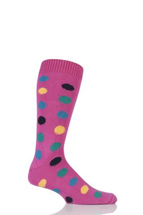 Mens 1 Pair Sockshop of London Spotty Cotton Socks Clematis / Multi 12-14
