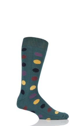 Mens 1 Pair Sockshop of London Spotty Cotton Socks Rich Green / Multi 12-14