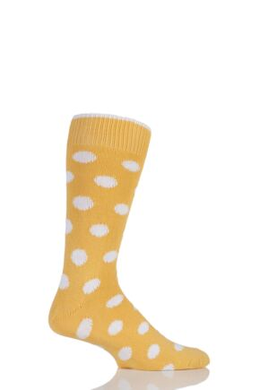 Mens 1 Pair Sockshop of London Spotty Cotton Socks Marigold / Arctic 12-14
