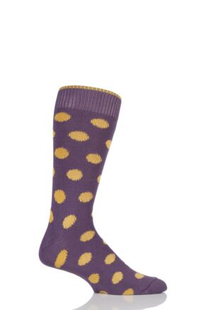 Mens 1 Pair Sockshop of London Spotty Cotton Socks Raisin / Inca 12-14