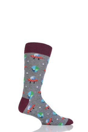 Mens 1 Pair Moustard Space Design Socks - Alien