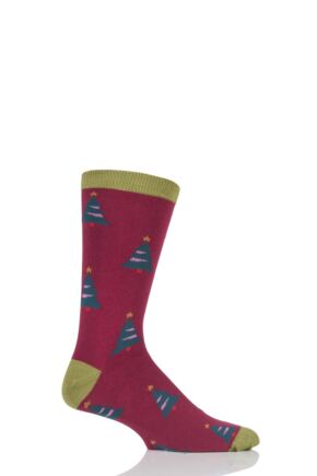 Mens 1 Pair Braintree Cypress Christmas Tree Bamboo and Organic Cotton Socks Claret One Size