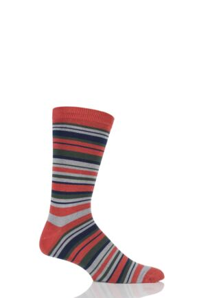 Mens 1 Pair Braintree Cole Multi Stripe Bamboo and Organic Cotton Socks Burnt Orange One Size