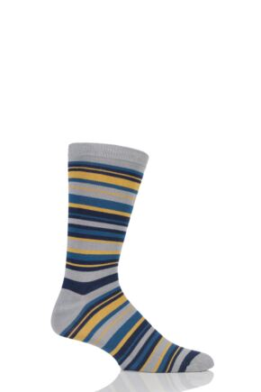 Mens 1 Pair Braintree Cole Multi Stripe Bamboo and Organic Cotton Socks Cement One Size