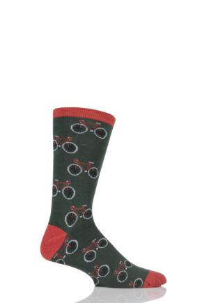 Mens 1 Pair Braintree Deochari Bicycle Bamboo and Organic Cotton Socks Forest One Size