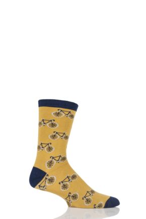 Mens 1 Pair Braintree Deochari Bicycle Bamboo and Organic Cotton Socks Mustard One Size