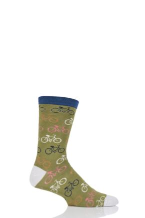 Mens 1 Pair Braintree Cyclist Bicycle Bamboo and Organic Cotton Socks Olive 7-11 Mens