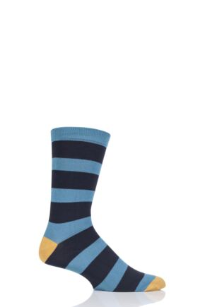 Mens 1 Pair Thought Nelson Block Stripe Bamboo and Organic Cotton Socks