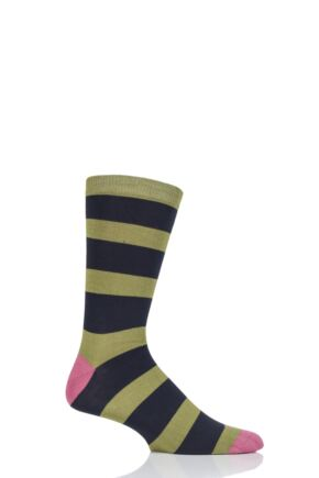 Mens 1 Pair Braintree Nelson Block Stripe Bamboo and Organic Cotton Socks Olive 7-11 Mens
