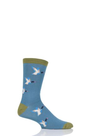 Mens 1 Pair Thought Mallard Ducks Bamboo and Organic Cotton Socks