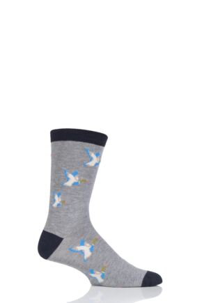 Mens 1 Pair Thought Mallard Ducks Bamboo and Organic Cotton Socks Grey Marl 7-11 Mens