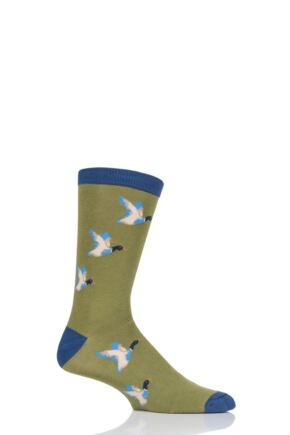 Mens 1 Pair Braintree Mallard Ducks Bamboo and Organic Cotton Socks Olive 7-11 Mens