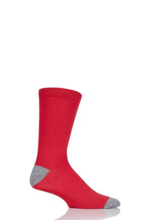 Mens 1 Pair Thought Solid Jack Plain Bamboo and Organic Cotton Socks Red 7-11 Mens