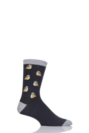Mens 1 Pair Thought Bird Design Bamboo and Organic Cotton Socks Charcoal 7-11 Mens