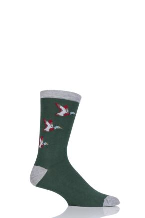 Mens 1 Pair Thought Bird Design Bamboo and Organic Cotton Socks Forest 7-11 Mens