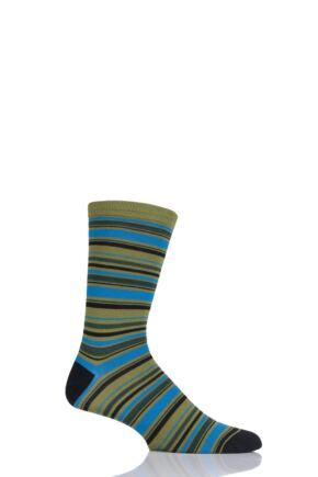 Mens 1 Pair Thought Kieran Multi Stripe Bamboo and Organic Cotton Socks Leaf 7-11 Mens