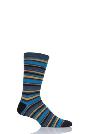 Mens 1 Pair Thought Kieran Multi Stripe Bamboo and Organic Cotton Socks Ocean 7-11 Mens