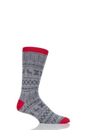 Mens 1 Pair Thought Noel Fair Isle Bamboo and Organic Cotton Socks Grey 7-11