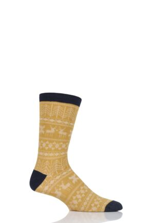 Mens 1 Pair Thought Noel Fair Isle Bamboo and Organic Cotton Socks Mustard 7-11