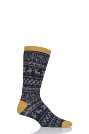 Mens 1 Pair Thought Noel Fair Isle Bamboo and Organic Cotton Socks