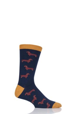 Mens 1 Pair Thought Canine Bamboo and Organic Cotton Socks Navy 7-11 Mens