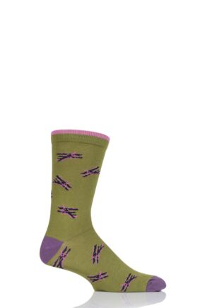 Mens 1 Pair Thought Aero Bamboo and Organic Cotton Socks Green 7-11 Mens