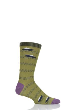 Mens 1 Pair Thought Starboard Bamboo and Organic Cotton Socks Green 7-11 Mens