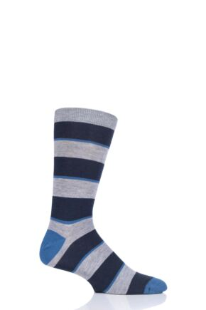 Mens 1 Pair Thought Elfield Broad Stripe Bamboo and Organic Cotton Socks Navy 7-11 Mens