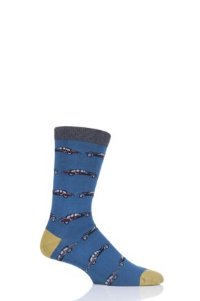 Mens 1 Pair Thought Classic Car Bamboo and Organic Cotton Socks Blue 7-11 Mens
