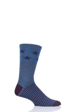Mens 1 Pair Thought Starry Stars and Stripes Bamboo and Organic Cotton Socks