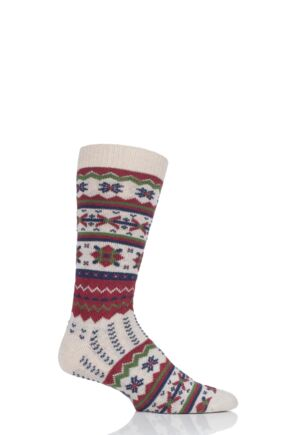 Mens 1 Pair Thought Marley Fair Isle Wool Socks Sand 7-11 Mens
