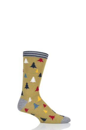 Mens 1 Pair Thought Yuletide Christmas Tree Bamboo and Organic Cotton Socks