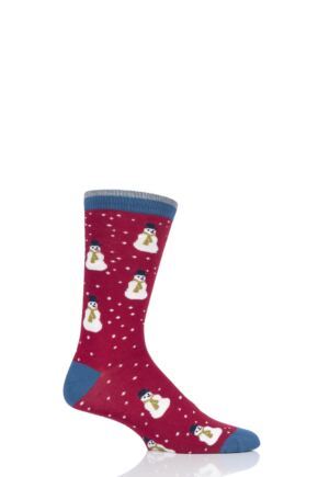 Mens 1 Pair Thought Snowman Bamboo and Organic Cotton Socks