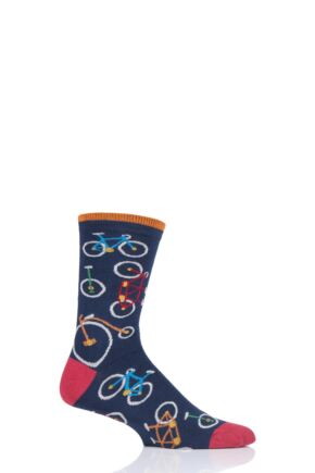 Mens 1 Pair Thought Bicycle Bamboo and Organic Cotton Socks Navy 7-11 Mens