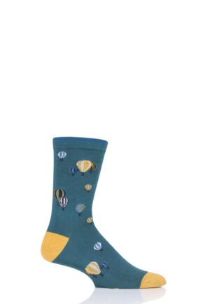 Mens 1 Pair Thought Explorer Bamboo and Organic Cotton Socks Deep Teal 7-11 Mens