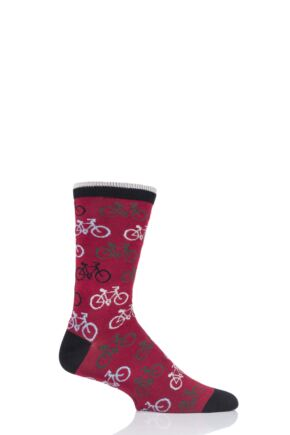 Mens 1 Pair Thought Cycler Bamboo and Organic Cotton Socks Pillarbox Red 7-11 Mens