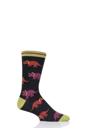 Mens 1 Pair Thought Cretaceous Dinosaur Bamboo and Organic Cotton Socks