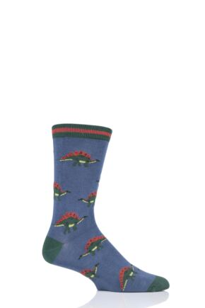 Mens 1 Pair Thought Cretaceous Dinosaur Bamboo and Organic Cotton Socks