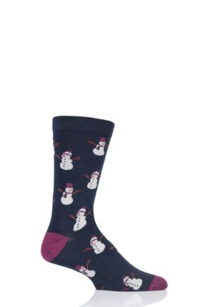 Mens 1 Pair Thought Christmas Snowmen Bamboo and Organic Cotton Socks