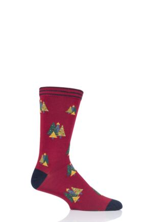 Mens 1 Pair Thought Christmas Tree Bamboo and Organic Cotton Socks