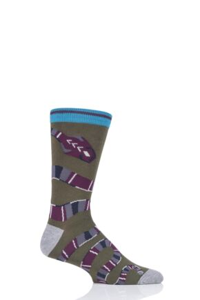 Mens 1 Pair Thought Serpent All Round Snake Bamboo and Organic Cotton Socks Khaki Green 7-11 Mens