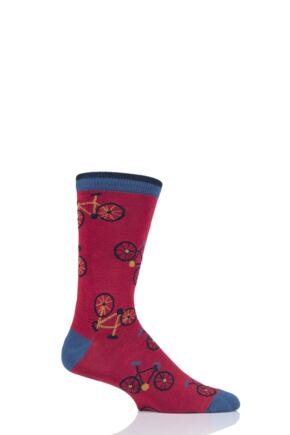 Mens 1 Pair Thought Cycling Bamboo and Organic Cotton Socks Berry Red 7-11 Mens