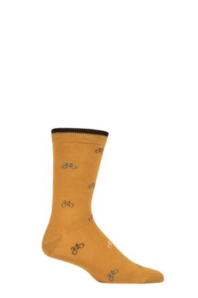 Mens 1 Pair Thought Fergus Bicycle Bamboo and Organic Cotton Socks Amber Yellow 7-11 Mens