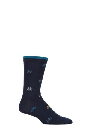Mens 1 Pair Thought Fergus Bicycle Bamboo and Organic Cotton Socks