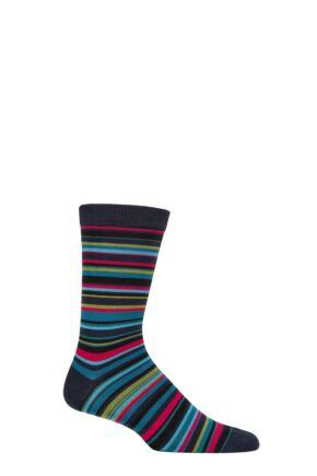 Mens 1 Pair Thought Abram Multi Stripe Bamboo and Organic Cotton Socks
