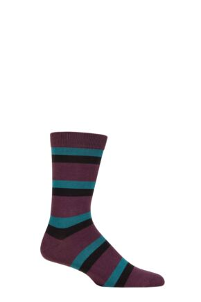 Mens 1 Pair Thought Wilbert Stripe Bamboo and Organic Cotton Socks Wine Red 7-11 Mens