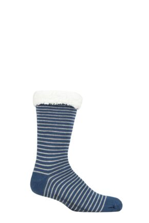 Mens 1 Pair Thought Blaise Striped Organic Cotton Cabin Socks