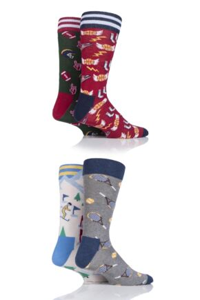 Mens 4 Pair Moustard Sports Collection Cotton Socks In Gift Box