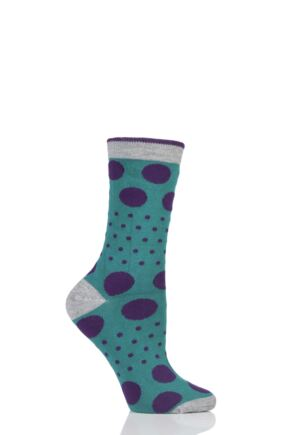Ladies 1 Pair Braintree Paolini Spots and Dots Bamboo and Organic Cotton Socks Forest One Size