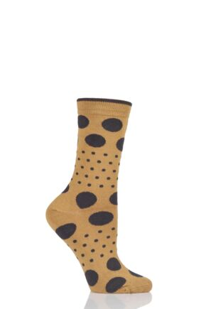 Ladies 1 Pair Braintree Paolini Spots and Dots Bamboo and Organic Cotton Socks Mustard One Size